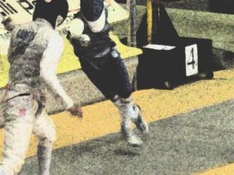 Lorenzo Nini in azione a Como, in una prova di Coppa del Mondo (anno 2005)