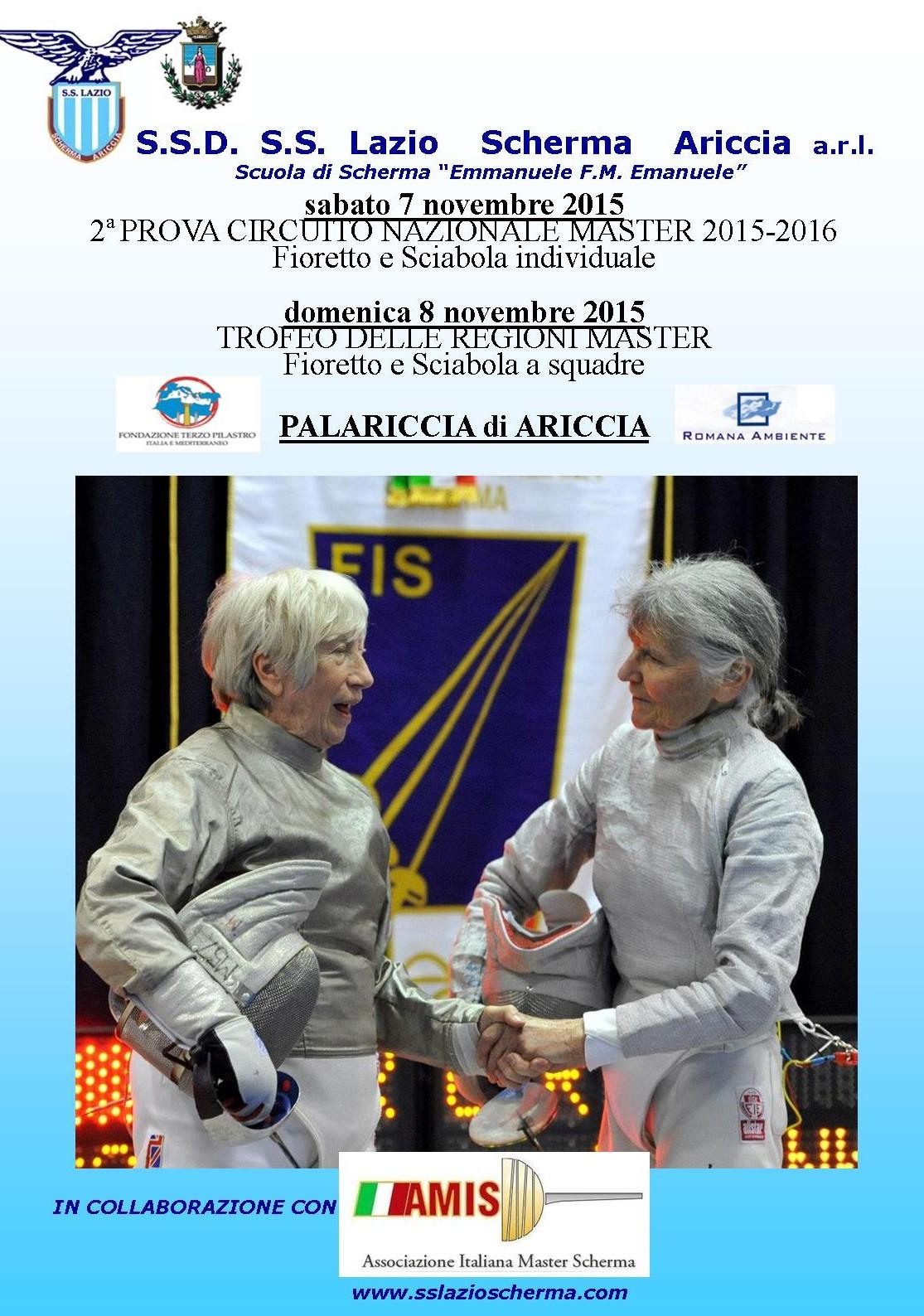 INFORMAZIONI GARA MASTER – FIORETTO E SCIABOLA – 7/8 novembre 2015