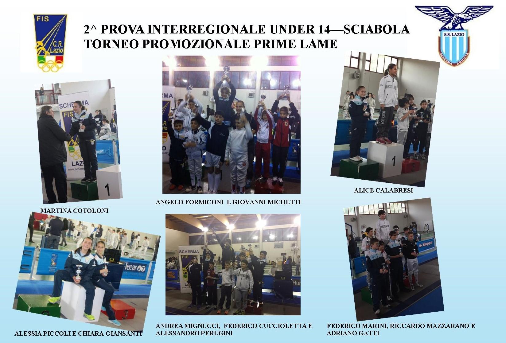 GRANDI RISULTATI NELLA SCIABOLA – 2^ PROVA INTERREGIONALE UNDER 14