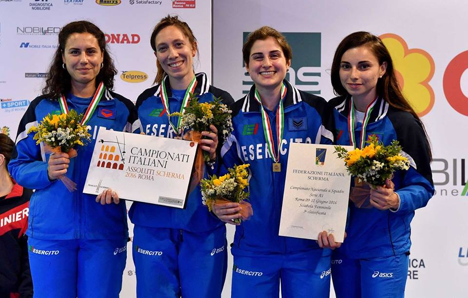 12.06.2016 Roma Campionati Italiani Assoluti Paola Guarneri 3^ classificata con l'Esercito (foto Bizzi per Federscherma)