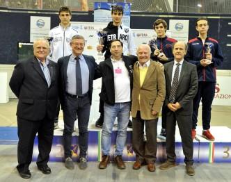 Ariccia 15.10.2016 1^ Prova Nazionale Cadetti - Trofeo ITAS Il podio della sciabola maschile (foto Trifiletti/Bizzi per Federscherma)