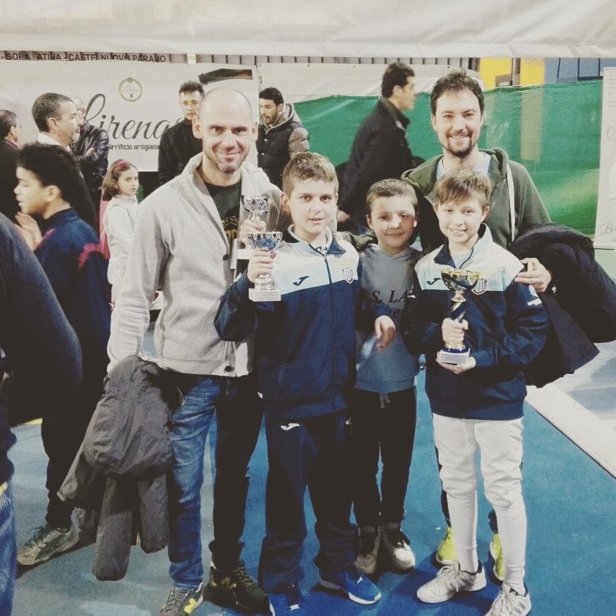 Cassino 17 febbraio 2017 2^ interregionale GPG Fioretto Francesco Donzelli e Guido De Bartolomeo con i tre moschettieri