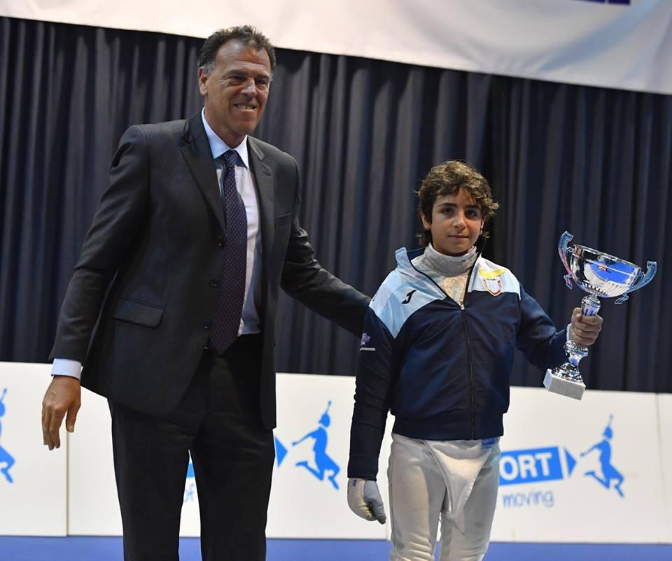 27.04.2017 Riccione Gran Premio Giovanissimi Francesco Pagano premiato con il Trofeo Kinder+Sport (foto Trifiletti/Bizzi per Federscherma)