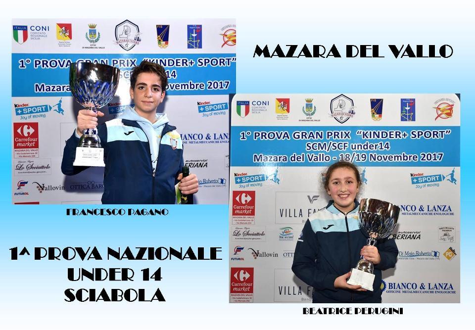 FRANCESCO PAGANO E BEATRICE PERUGINI ORO NELLA 1^ PROVA NAZIONALE GPG DI SCIABOLA 2017