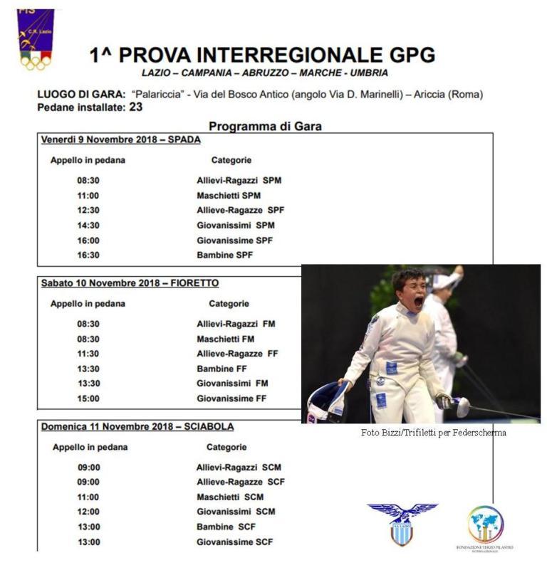 1^ PROVA INTERREGIONALE UNDER 14 – 9/11 NOVEMBRE 2018